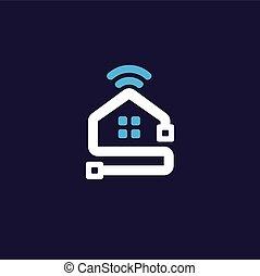 concepto, hogar, logotipo, radio, red