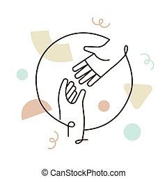 concepto, icono, alcanzar, línea, gente, afuera, ayuda, manos