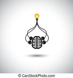 concepto, idea, persona, cerebro, cerebro, el solucionar, uso, y, eficiente, genio, -, también, mente, elegante, listo, ilustración, conectado, bombilla, icono, representa, gráfico, esto, creation., etc, soluciones, vector, problema