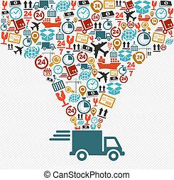 concepto, illustration., iconos, entrega rápida, conjunto, camión, envío