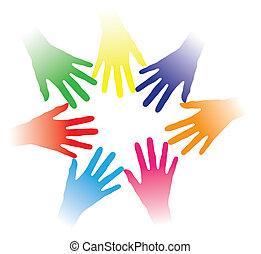 Concepto ilustración de manos coloridas mantenidas juntas indicando red social, espíritu de equipo, gente unida, grupo multirracial de personas, asociación, ayuda mutua, comunidad de personas, etc.