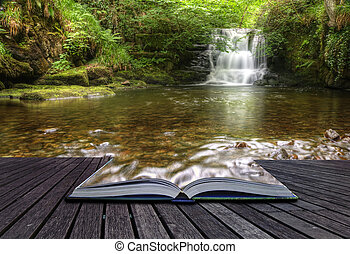 concepto, imagen, fluir, mágico, cascada, creativo, libro, bosque, venida, páginas, afuera