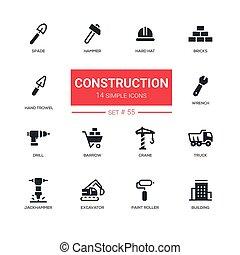 Concepto industrial, construcción, iconos de diseño de línea