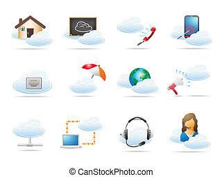 concepto, informática, nube, icono