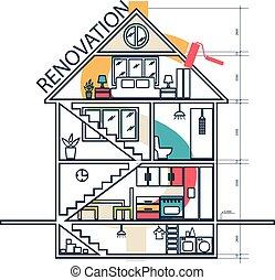 Concepto la remodelación de la casa, ilustración de vectores