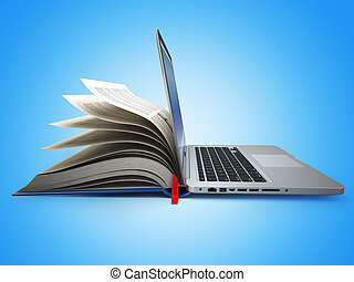 concepto, labrary., laptop., education., libro, e-learning., internet
