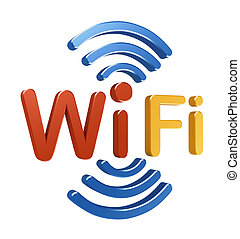 concepto, logo., 3d, wifi