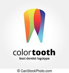 concepto, logotype, resumen, aislado, diente, vector, plano de fondo, blanco, dental