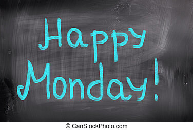concepto, lunes, feliz