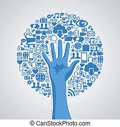 concepto, medios, árbol, mano, social, redes