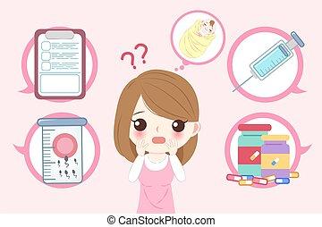 concepto, mujer, infertilidad