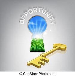 concepto, oportunidad, llave