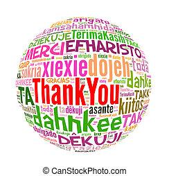 concepto, palabra, agradecer, muchos, idiomas, usted, world.