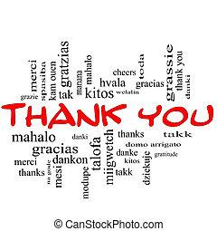concepto, palabra, agradecer, tapas, nube, usted, rojo