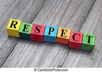 concepto, palabra, colorido, de madera, cubos, respeto