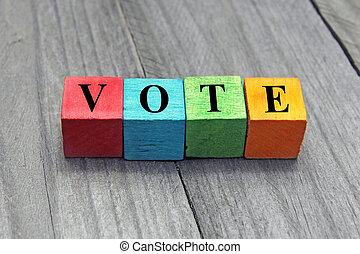 concepto, palabra, colorido, de madera, cubos, voto