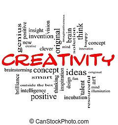 concepto, palabra, creatividad, nube negra, rojo