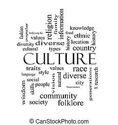 concepto, palabra, cultura, negro, nube blanca