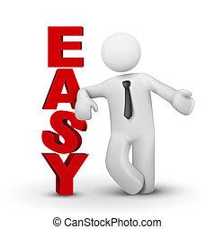 concepto, palabra, empresa / negocio, presentación, fácil, hombre, 3d