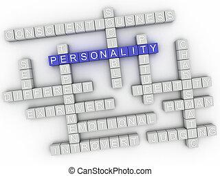 concepto, palabra, imagen, asuntos, plano de fondo, personalidad, nube, 3d