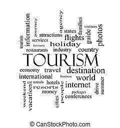 concepto, palabra, negro, blanco, turismo, nube