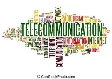 concepto, palabra, telecomunicación, nube, etiqueta