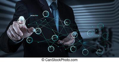 concepto, pantalla, empujar, solución, mano, diagrama, tacto, interfaz, hombre de negocios
