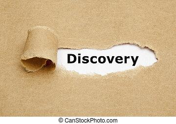 concepto, papel roto, descubrimiento