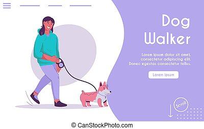 concepto, paseante, aterrizaje, vector, página, perro