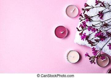 concepto, pequeño, tratamiento, rosa, algodón, velas, blanco, aroma, flores, balneario, toalla, copia, plano de fondo, espacio