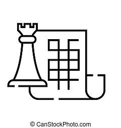 concepto, plan, estratégico, vector, ilustración, contorno, señal, símbolo., icono, lineal, línea