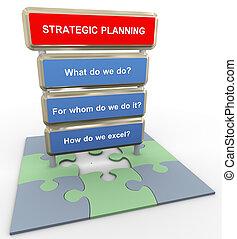 concepto, planificación, 3d, estratégico