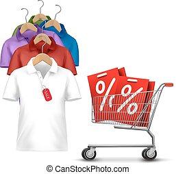 concepto, precio, descuento, percha, camisas, vector., tag., shopping., ropa