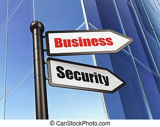 Concepto privado: la seguridad de los negocios en el fondo de la construcción de negocios, 3d