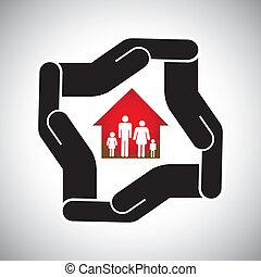 concepto, propiedad, casa, casa seguro, familia , y, personal, también, salud, ventaja, vector., seguridad, tratos, verdadero, empresa / negocio, seguro, protección, representa, gráfico, protección, etc, o