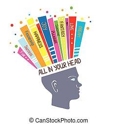 concepto, psicología, pensamiento, positivo, ilustración, sentimientos, optimista