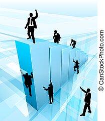 Concepto que la gente de negocios silueta éxito