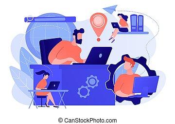concepto, red, conexión global, illustration., vector