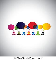 concepto, red, hablar, gente, social, -, vect, charlar, en línea