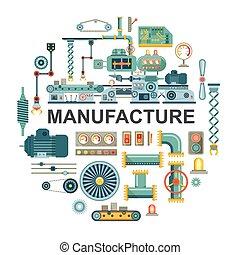 Concepto redondo industrial plano