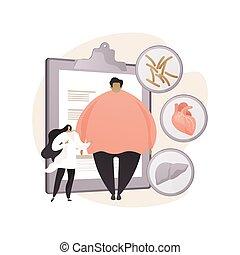 concepto, salud, resumen, illustration., problema, obesidad, vector