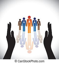Concepto seguro (protección) empleados de la empresa o ejecutivos con silueta a mano