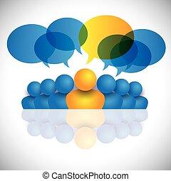 concepto, staff., oficina, y, o, director, liderazgo, líder