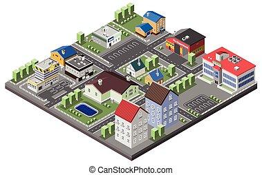 Concepto suburban isometrico