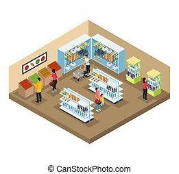 concepto, supermercado, interior, isométrico
