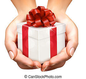 concepto, tenencia, donación de obsequio, boxes., presentes, plano de fondo, manos, feriado