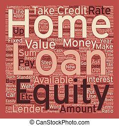 concepto, texto, préstamo, wordcloud, plano de fondo, equidad, hogar