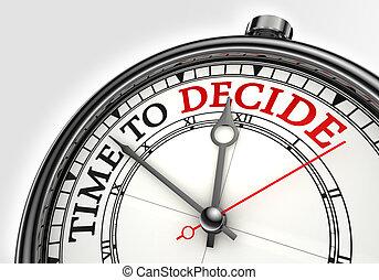 concepto, tiempo, decidir, reloj