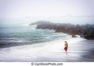 concepto, -, tristeza, mujer, mar, brumoso, depresión