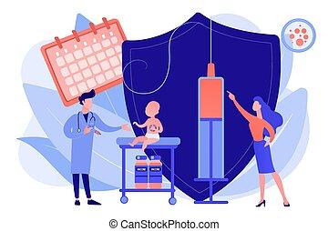 concepto, vacunación, illustration., niño, infante, vector